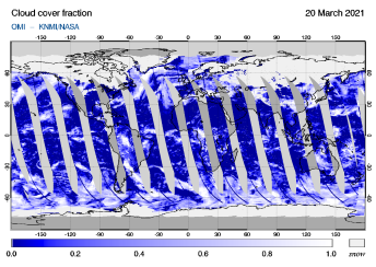 OMI - Cloud cover fraction of 20 March 2021