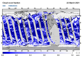 OMI - Cloud cover fraction of 22 March 2021