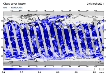 OMI - Cloud cover fraction of 23 March 2021