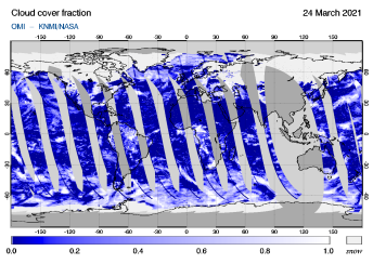 OMI - Cloud cover fraction of 24 March 2021