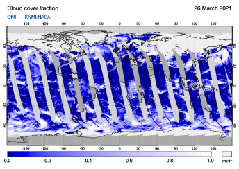 OMI - Cloud cover fraction of 26 March 2021
