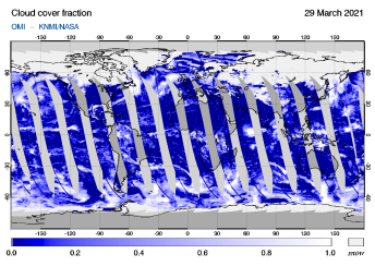 OMI - Cloud cover fraction of 29 March 2021