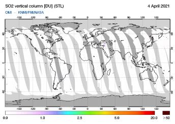 OMI - SO2 vertical column of 04 April 2021