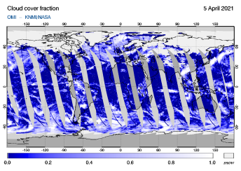 OMI - Cloud cover fraction of 05 April 2021