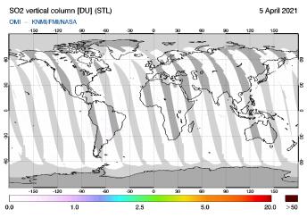 OMI - SO2 vertical column of 05 April 2021