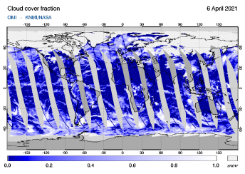 OMI - Cloud cover fraction of 06 April 2021