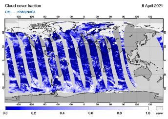 OMI - Cloud cover fraction of 08 April 2021