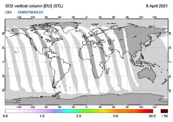 OMI - SO2 vertical column of 08 April 2021