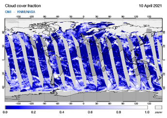 OMI - Cloud cover fraction of 10 April 2021