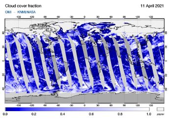 OMI - Cloud cover fraction of 11 April 2021