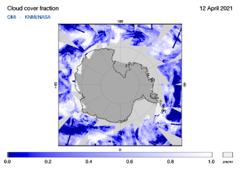 OMI - Cloud cover fraction of 12 April 2021
