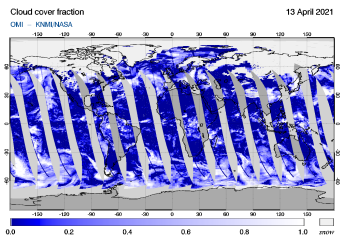 OMI - Cloud cover fraction of 13 April 2021
