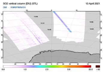 OMI - SO2 vertical column of 13 April 2021