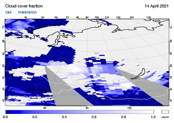 OMI - Cloud cover fraction of 14 April 2021