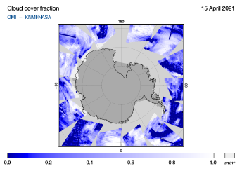 OMI - Cloud cover fraction of 15 April 2021