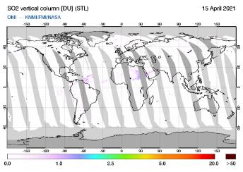 OMI - SO2 vertical column of 15 April 2021