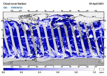 OMI - Cloud cover fraction of 16 April 2021