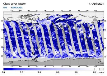 OMI - Cloud cover fraction of 17 April 2021
