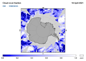 OMI - Cloud cover fraction of 18 April 2021