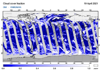 OMI - Cloud cover fraction of 19 April 2021