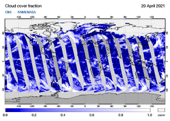 OMI - Cloud cover fraction of 20 April 2021
