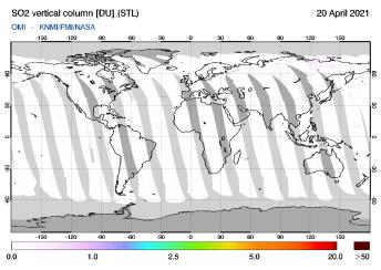 OMI - SO2 vertical column of 20 April 2021
