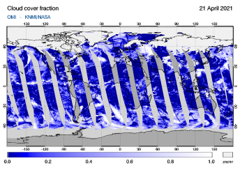 OMI - Cloud cover fraction of 21 April 2021