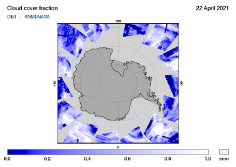 OMI - Cloud cover fraction of 22 April 2021