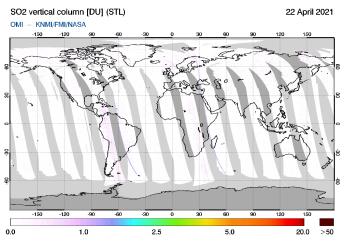 OMI - SO2 vertical column of 22 April 2021