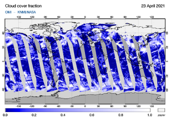 OMI - Cloud cover fraction of 23 April 2021