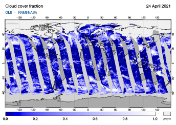 OMI - Cloud cover fraction of 24 April 2021