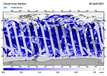 OMI - Cloud cover fraction of 26 April 2021