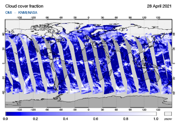 OMI - Cloud cover fraction of 28 April 2021