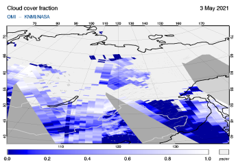 OMI - Cloud cover fraction of 03 May 2021