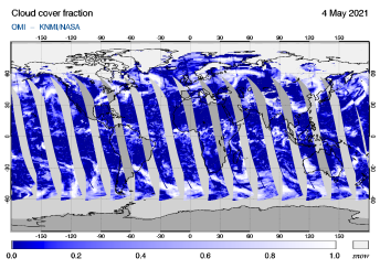 OMI - Cloud cover fraction of 04 May 2021