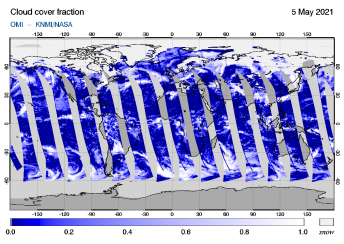 OMI - Cloud cover fraction of 05 May 2021