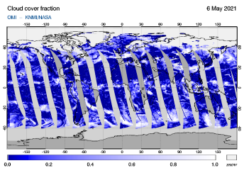 OMI - Cloud cover fraction of 06 May 2021