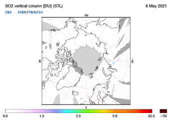 OMI - SO2 vertical column of 06 May 2021
