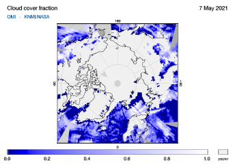 OMI - Cloud cover fraction of 07 May 2021