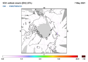 OMI - SO2 vertical column of 07 May 2021