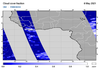 OMI - Cloud cover fraction of 08 May 2021