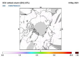 OMI - SO2 vertical column of 08 May 2021