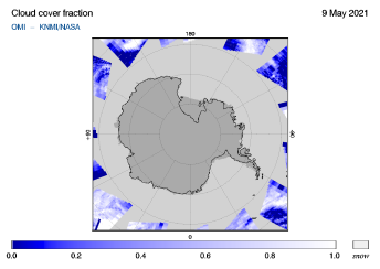 OMI - Cloud cover fraction of 09 May 2021