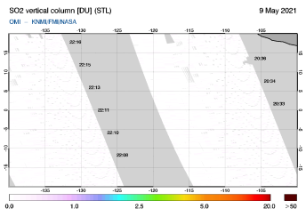 OMI - SO2 vertical column of 09 May 2021