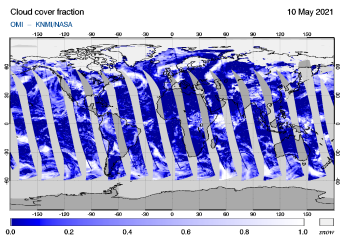 OMI - Cloud cover fraction of 10 May 2021