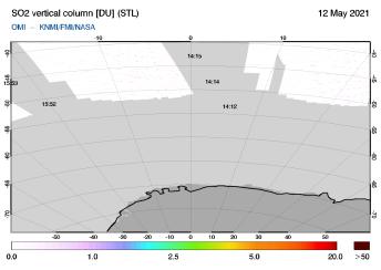 OMI - SO2 vertical column of 12 May 2021