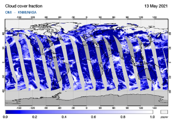 OMI - Cloud cover fraction of 13 May 2021