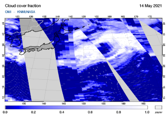 OMI - Cloud cover fraction of 14 May 2021