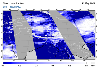 OMI - Cloud cover fraction of 15 May 2021