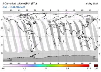 OMI - SO2 vertical column of 15 May 2021